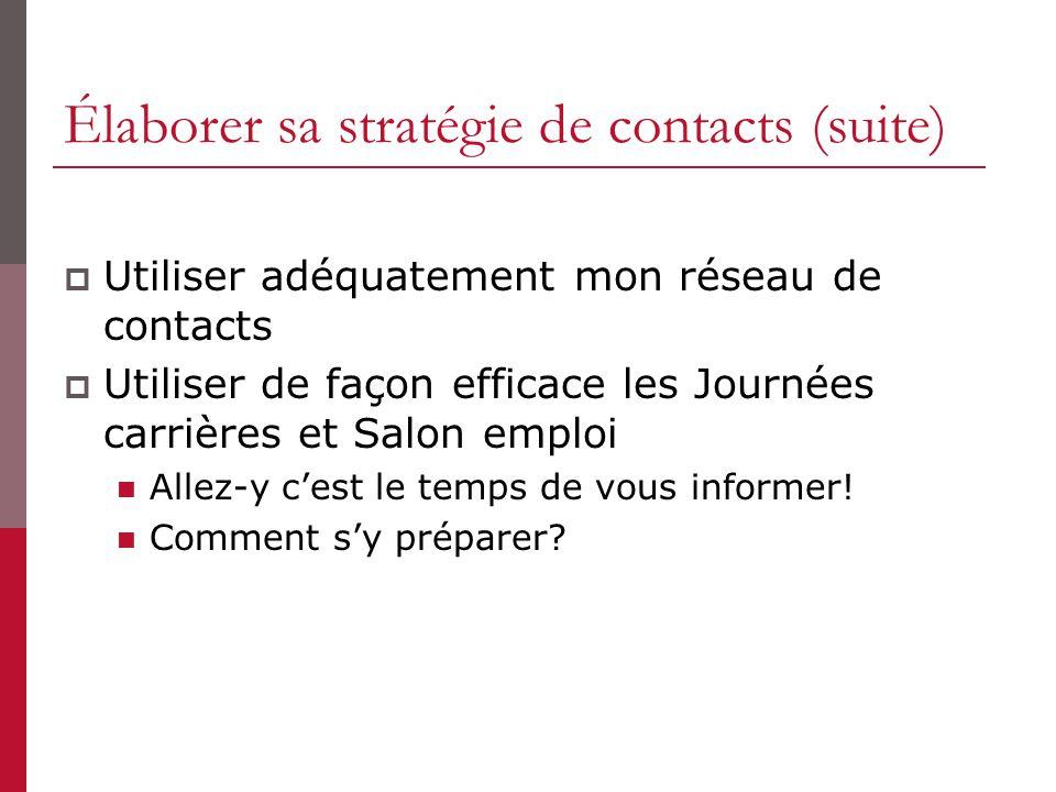 Élaborer sa stratégie de contacts (suite) Utiliser adéquatement mon réseau de contacts Utiliser de façon efficace les Journées carrières et Salon empl