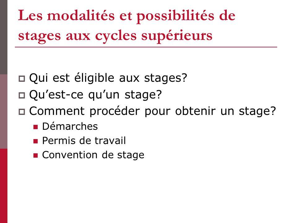 Les modalités et possibilités de stages aux cycles supérieurs Qui est éligible aux stages? Quest-ce quun stage? Comment procéder pour obtenir un stage