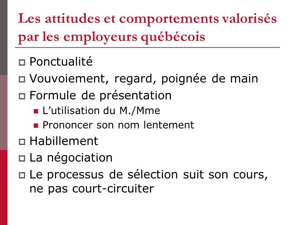 Les attitudes et comportements valorisés par les employeurs québécois Ponctualité Vouvoiement, regard, poignée de main Formule de présentation Lutilis