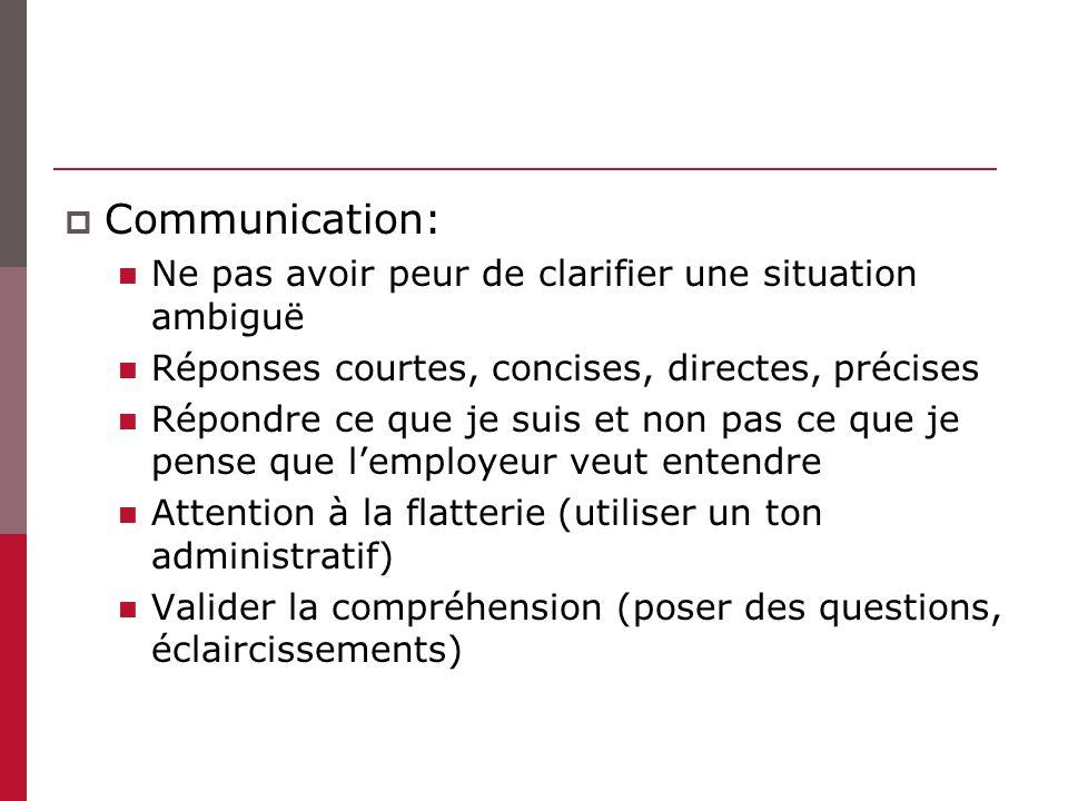 Communication: Ne pas avoir peur de clarifier une situation ambiguë Réponses courtes, concises, directes, précises Répondre ce que je suis et non pas