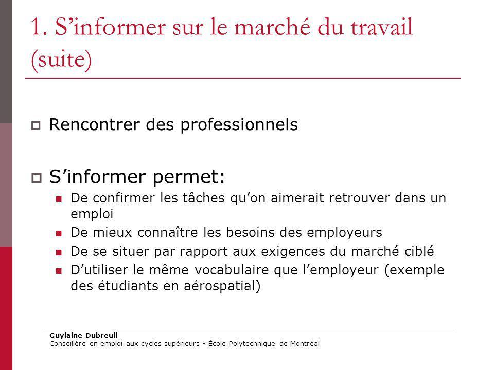 1. Sinformer sur le marché du travail (suite) Rencontrer des professionnels Sinformer permet: De confirmer les tâches quon aimerait retrouver dans un