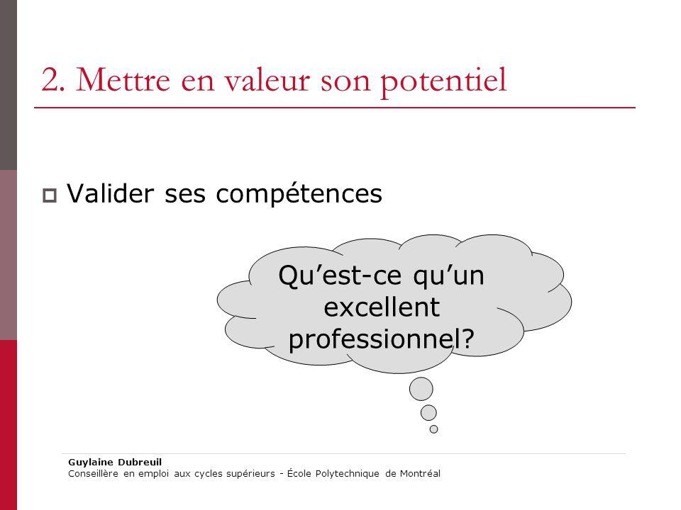 2. Mettre en valeur son potentiel Valider ses compétences Quest-ce quun excellent professionnel? Guylaine Dubreuil Conseillère en emploi aux cycles su