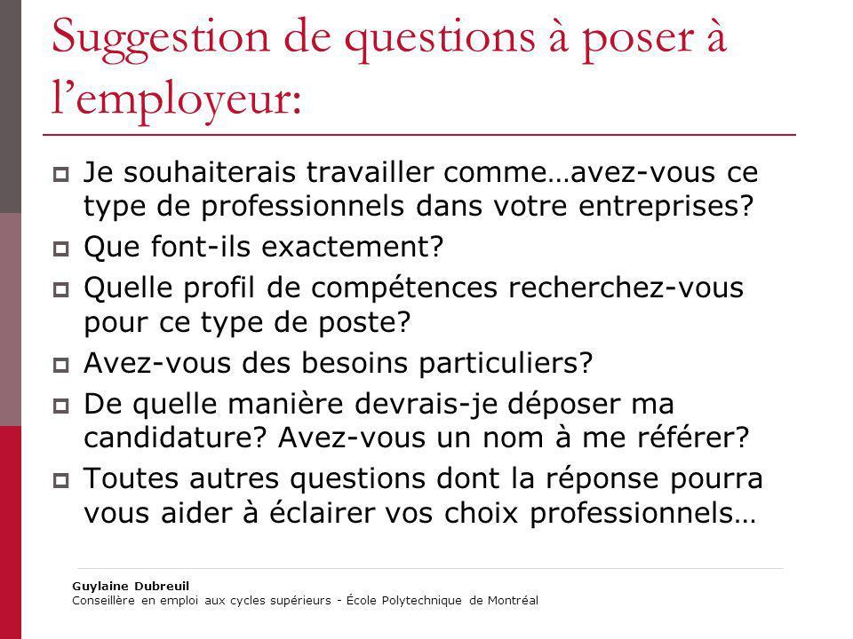 Suggestion de questions à poser à lemployeur: Je souhaiterais travailler comme…avez-vous ce type de professionnels dans votre entreprises? Que font-il