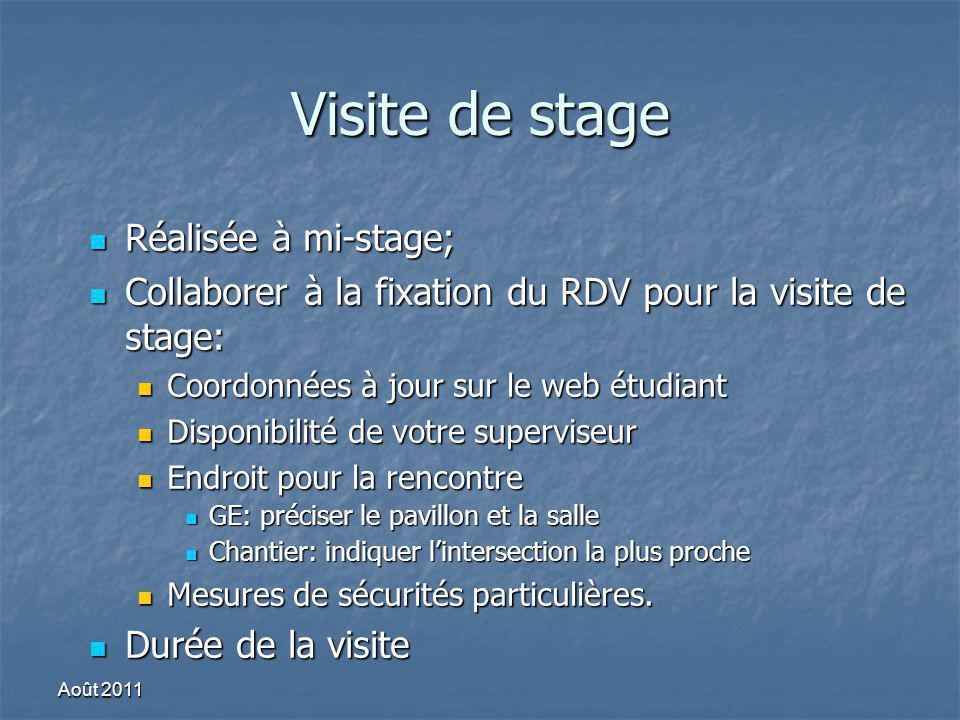 Visite de stage Réalisée à mi-stage; Réalisée à mi-stage; Collaborer à la fixation du RDV pour la visite de stage: Collaborer à la fixation du RDV pou