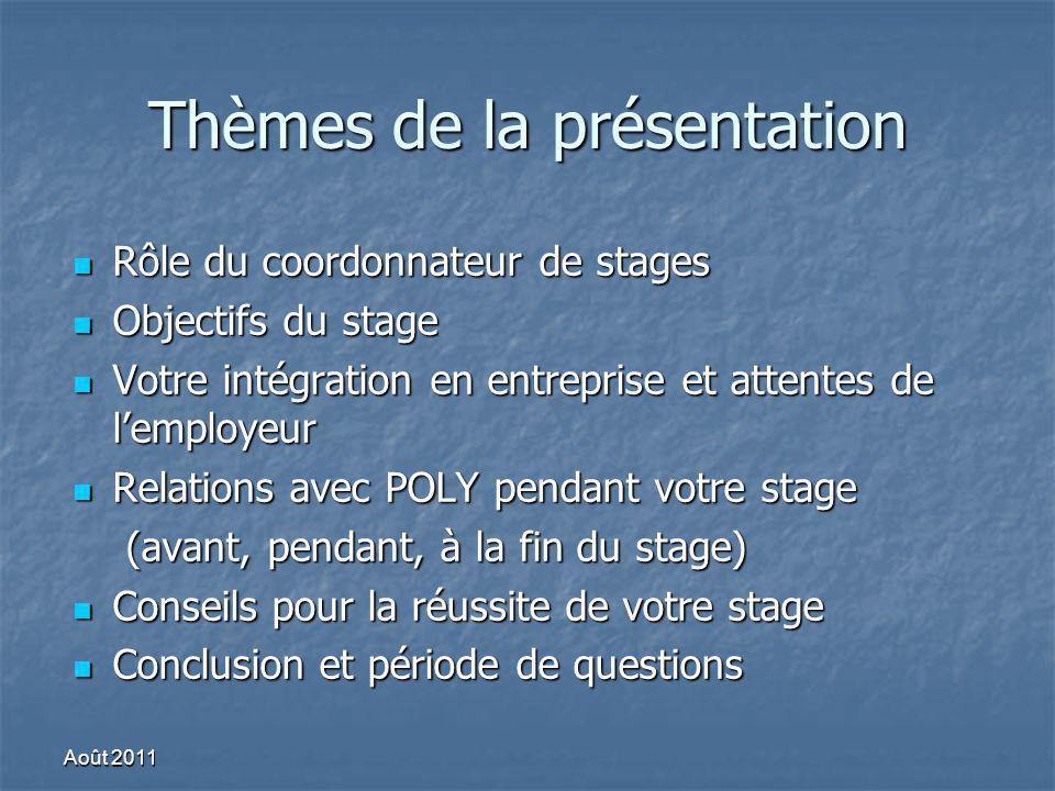 Thèmes de la présentation Rôle du coordonnateur de stages Rôle du coordonnateur de stages Objectifs du stage Objectifs du stage Votre intégration en e