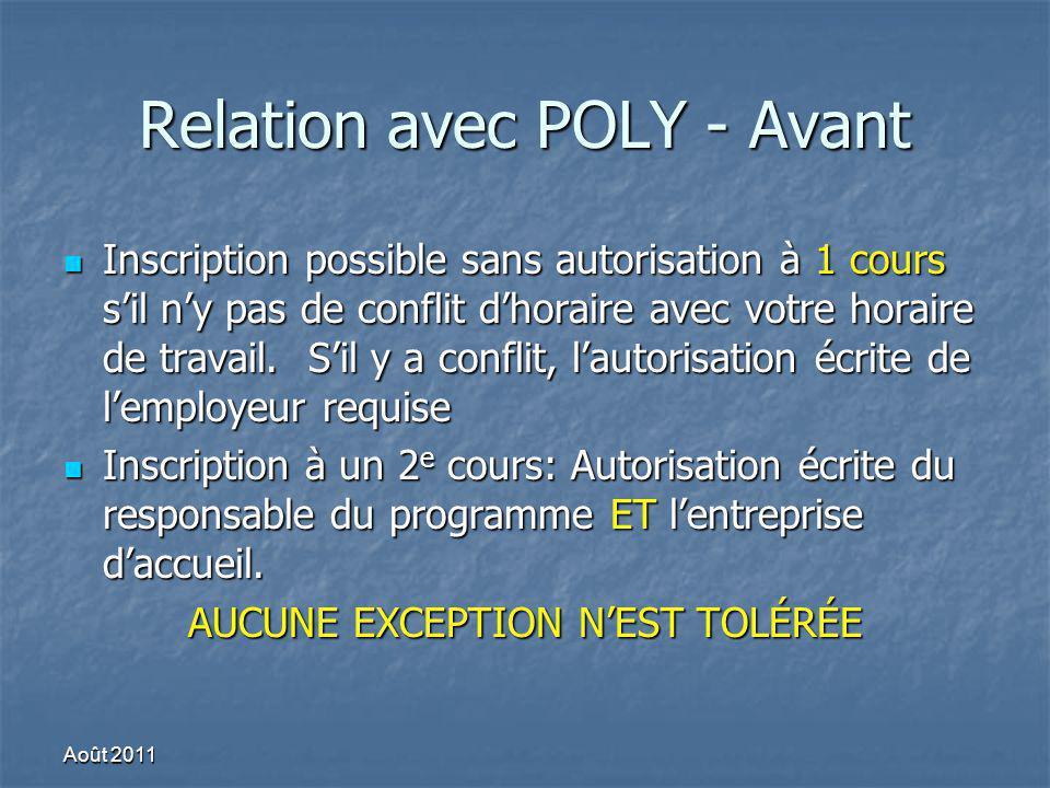 Relation avec POLY - Avant Inscription possible sans autorisation à 1 cours sil ny pas de conflit dhoraire avec votre horaire de travail. Sil y a conf