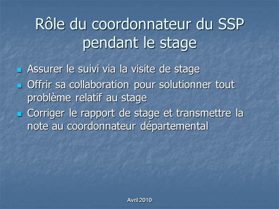 Rôle du coordonnateur du SSP pendant le stage Assurer le suivi via la visite de stage Assurer le suivi via la visite de stage Offrir sa collaboration