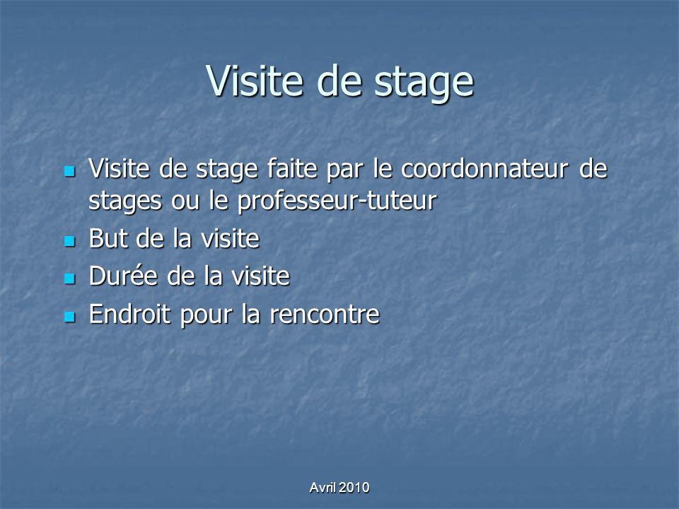 Visite de stage Visite de stage faite par le coordonnateur de stages ou le professeur-tuteur Visite de stage faite par le coordonnateur de stages ou l