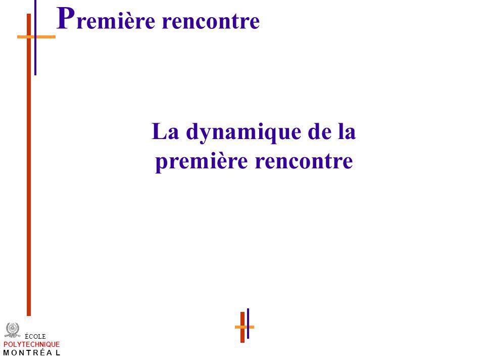 /atelier charge cours/plan de cours 14 ÉCOLE POLYTECHNIQUE M O N T R É A L La dynamique de la première rencontre P remière rencontre