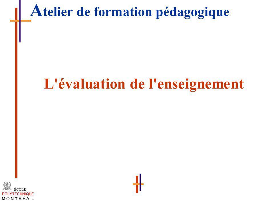 /atelier charge cours/plan de cours 36 ÉCOLE POLYTECHNIQUE M O N T R É A L A telier de formation pédagogique L'évaluation de l'enseignement
