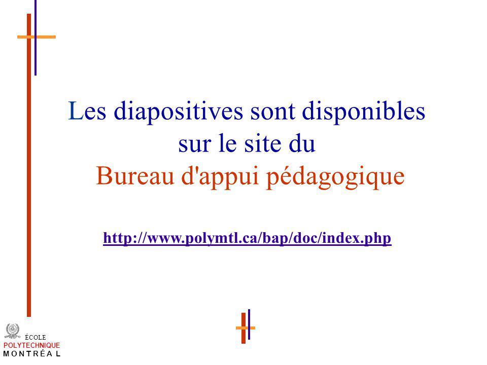 /atelier charge cours/plan de cours 46 ÉCOLE POLYTECHNIQUE M O N T R É A L Les diapositives sont disponibles sur le site du Bureau d'appui pédagogique