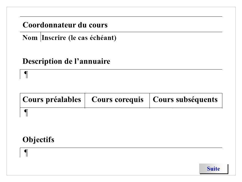 Coordonnateur du cours Suite NomInscrire (le cas échéant) ¶ Description de lannuaire ¶ Objectifs ¶ Cours préalablesCours corequisCours subséquents