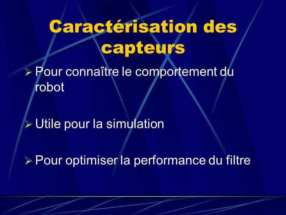 Caractérisation des capteurs Pour connaître le comportement du robot Utile pour la simulation Pour optimiser la performance du filtre