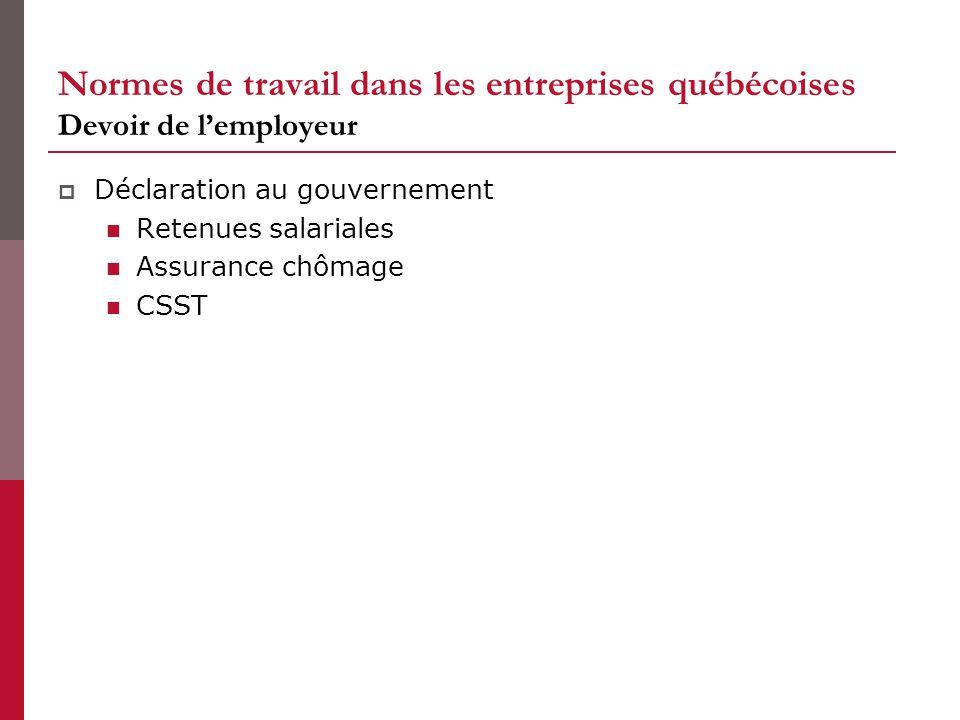 Normes de travail dans les entreprises québécoises Devoir de lemployeur Déclaration au gouvernement Retenues salariales Assurance chômage CSST