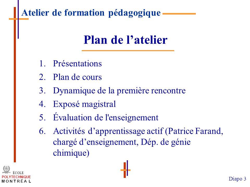/atelier charge cours/plan de cours 3 ÉCOLE POLYTECHNIQUE M O N T R É A L Diapo 3 1.Présentations 2.Plan de cours 3.Dynamique de la première rencontre