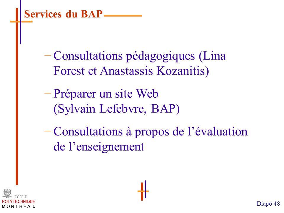 /atelier charge cours/plan de cours 48 ÉCOLE POLYTECHNIQUE M O N T R É A L Diapo 48 Consultations pédagogiques (Lina Forest et Anastassis Kozanitis) P