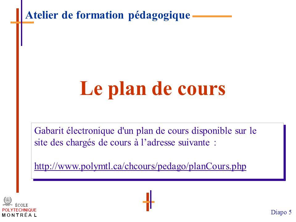 /atelier charge cours/plan de cours 5 ÉCOLE POLYTECHNIQUE M O N T R É A L Diapo 5 Le plan de cours Gabarit électronique d'un plan de cours disponible