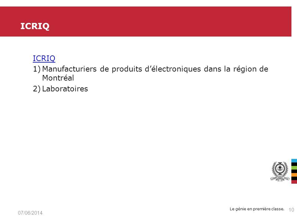 Le génie en première classe. ICRIQ 1)Manufacturiers de produits délectroniques dans la région de Montréal 2)Laboratoires ICRIQ 07/06/2014 10