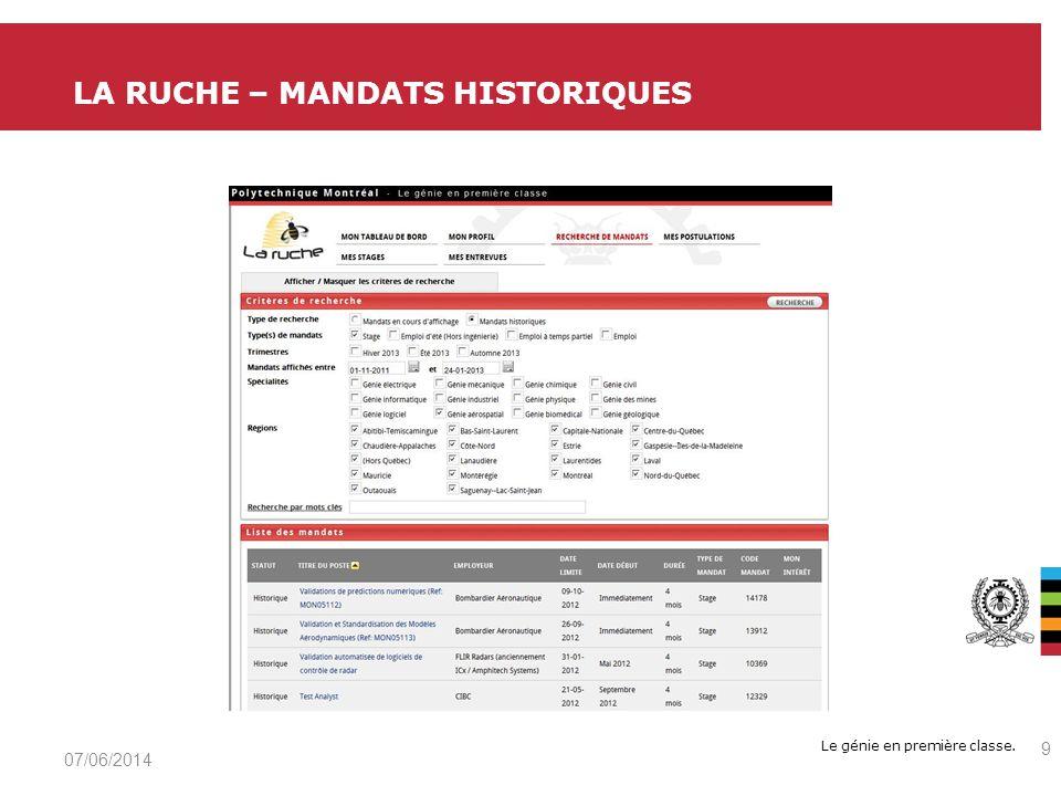 Le génie en première classe. LA RUCHE – MANDATS HISTORIQUES 07/06/2014 9