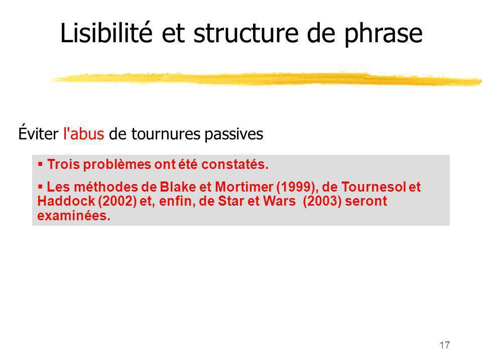 17 Éviter l abus de tournures passives Lisibilité et structure de phrase Trois problèmes ont été constatés.