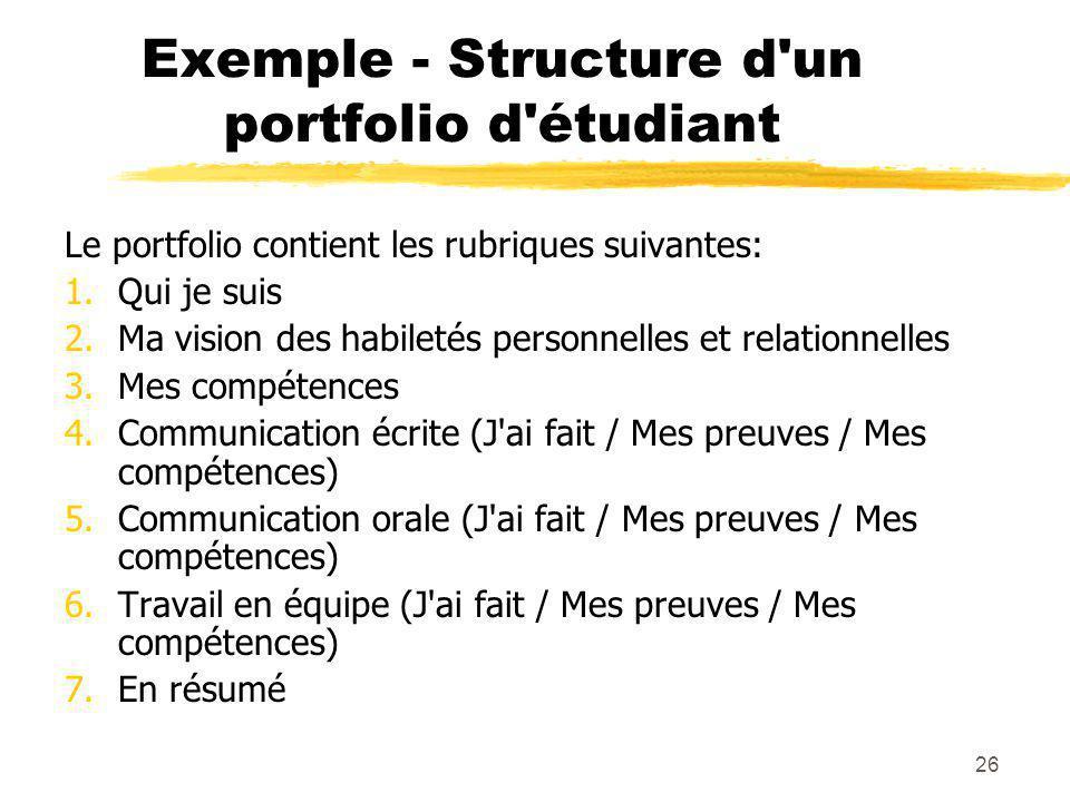 26 Exemple - Structure d un portfolio d étudiant Le portfolio contient les rubriques suivantes: 1.Qui je suis 2.Ma vision des habiletés personnelles et relationnelles 3.Mes compétences 4.Communication écrite (J ai fait / Mes preuves / Mes compétences) 5.Communication orale (J ai fait / Mes preuves / Mes compétences) 6.Travail en équipe (J ai fait / Mes preuves / Mes compétences) 7.En résumé