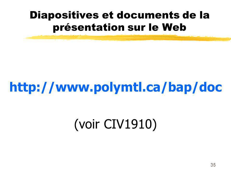 35 Diapositives et documents de la présentation sur le Web http://www.polymtl.ca/bap/doc (voir CIV1910)