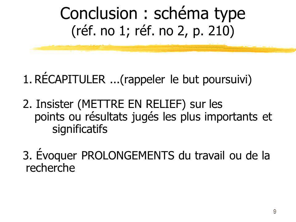 9 Conclusion : schéma type (réf.no 1; réf. no 2, p.