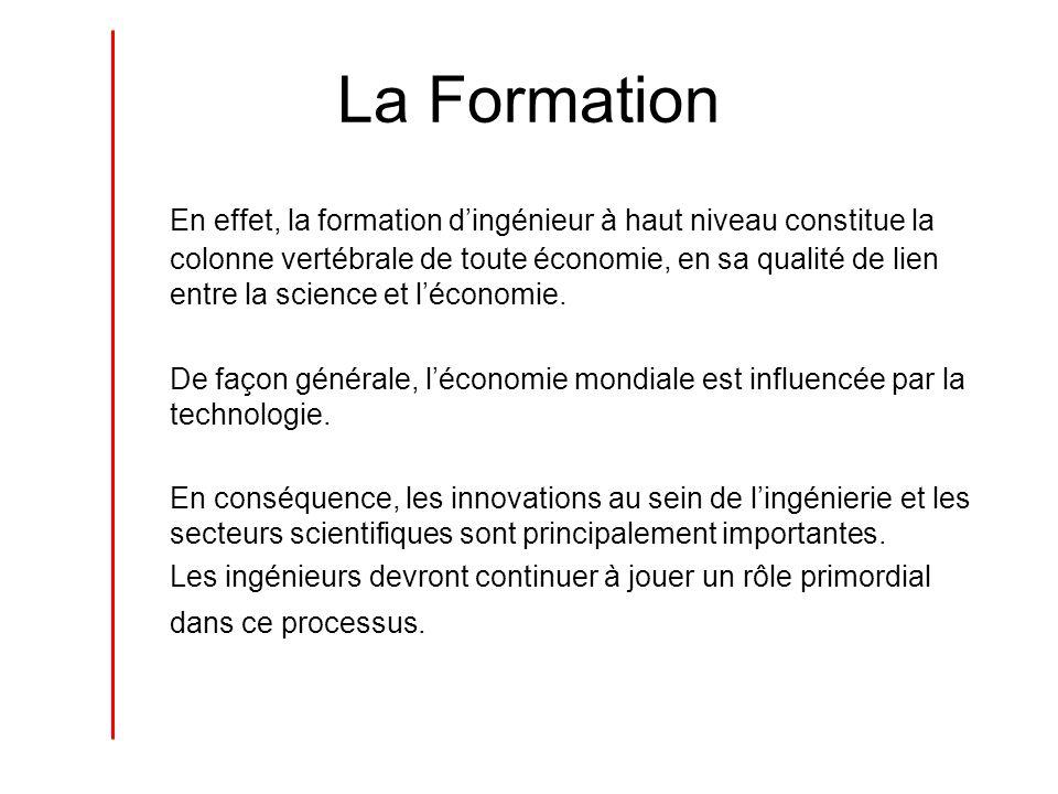 La Formation En effet, la formation dingénieur à haut niveau constitue la colonne vertébrale de toute économie, en sa qualité de lien entre la science