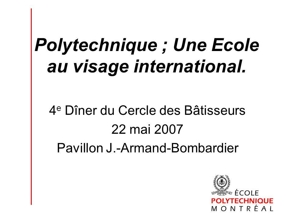 Polytechnique ; Une Ecole au visage international. 4 e Dîner du Cercle des Bâtisseurs 22 mai 2007 Pavillon J.-Armand-Bombardier