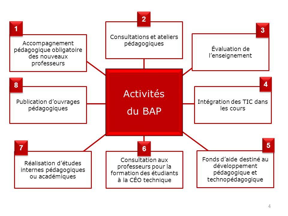 4 Activités du BAP Accompagnement pédagogique obligatoire des nouveaux professeurs Publication douvrages pédagogiques Réalisation détudes internes péd