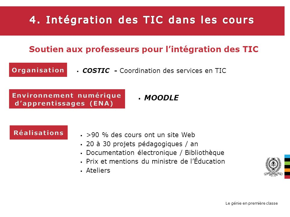 Le génie en première classe COSTIC - Coordination des services en TIC >90 % des cours ont un site Web 20 à 30 projets pédagogiques / an Documentation