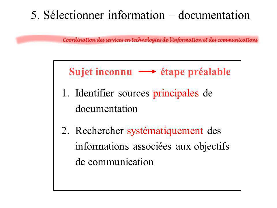 5. Sélectionner information – documentation Sujet inconnu étape préalable 1.Identifier sources principales de documentation 2.Rechercher systématiquem