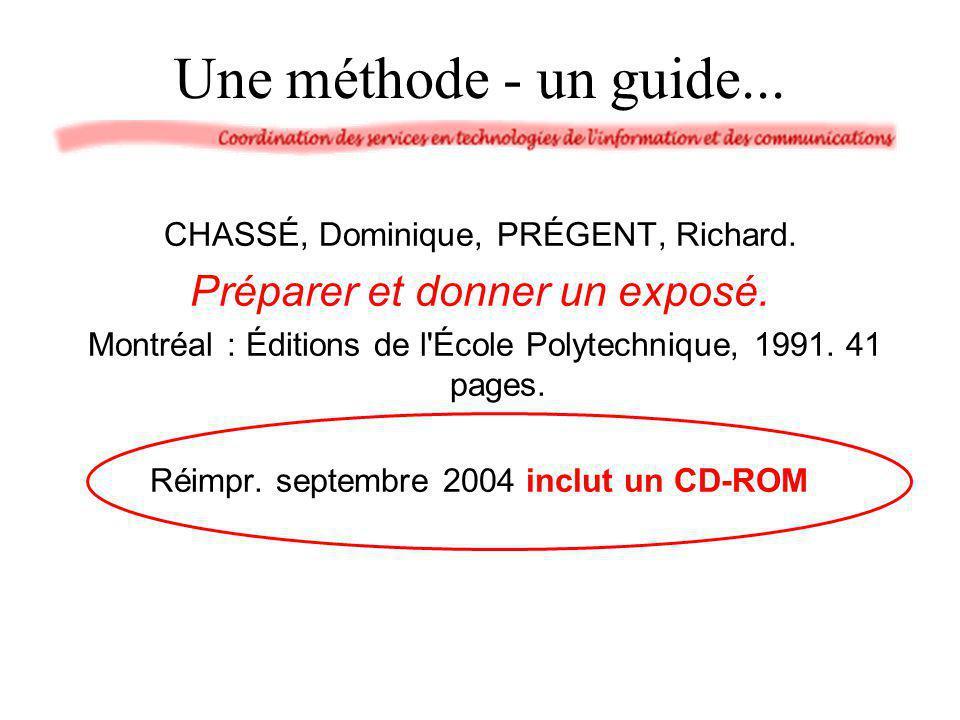 Une méthode - un guide... CHASSÉ, Dominique, PRÉGENT, Richard. Préparer et donner un exposé. Montréal : Éditions de l'École Polytechnique, 1991. 41 pa
