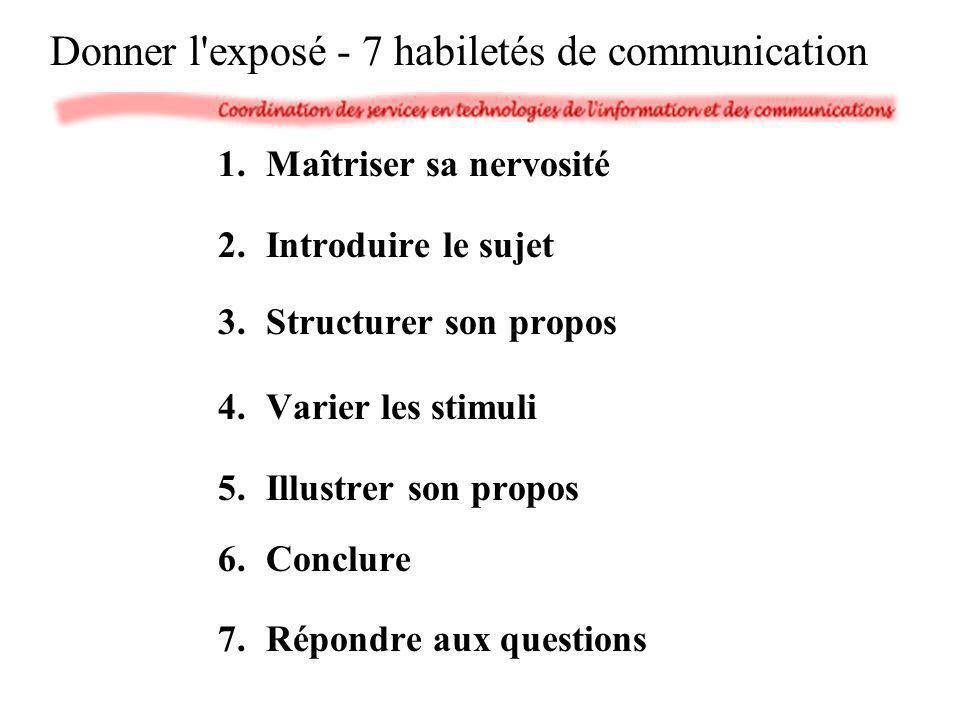 1.Maîtriser sa nervosité 2.Introduire le sujet 3.Structurer son propos 4.Varier les stimuli 5.Illustrer son propos 6.Conclure 7.Répondre aux questions