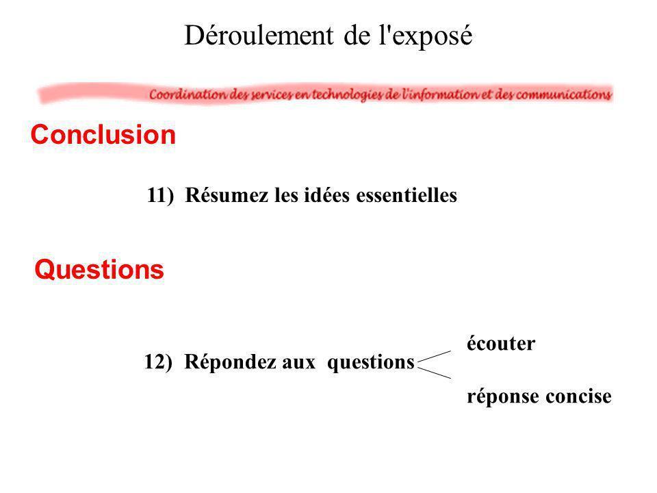 Déroulement de l'exposé 11) Résumez les idées essentielles Conclusion écouter réponse concise 12) Répondez aux questions Questions