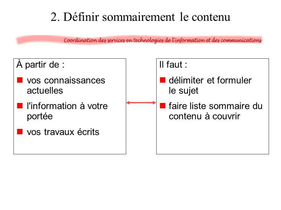 À partir de : vos connaissances actuelles l'information à votre portée vos travaux écrits Il faut : délimiter et formuler le sujet faire liste sommair