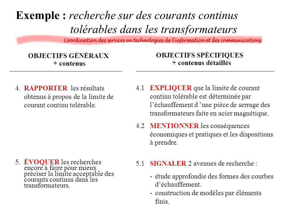 4.RAPPORTER les résultats obtenus à propos de la limite de courant continu tolérable. 5.ÉVOQUER les recherches encore à faire pour mieux préciser la l