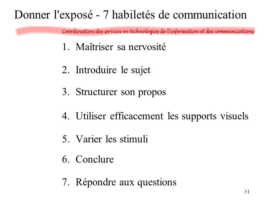 1.Maîtriser sa nervosité 2.Introduire le sujet 3.Structurer son propos 4.Utiliser efficacement les supports visuels 5.Varier les stimuli 6.Conclure 7.