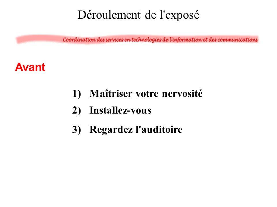1)Maîtriser votre nervosité 2)Installez-vous 3)Regardez l'auditoire Déroulement de l'exposé Avant