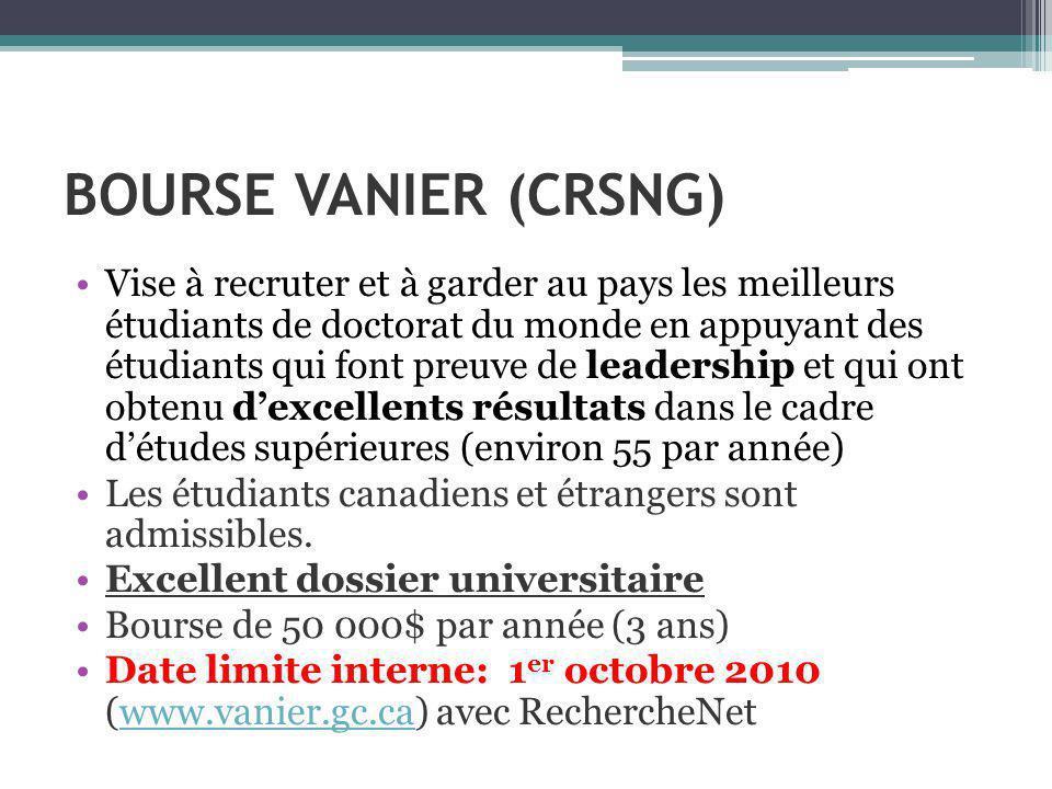 BOURSE VANIER (CRSNG) Vise à recruter et à garder au pays les meilleurs étudiants de doctorat du monde en appuyant des étudiants qui font preuve de leadership et qui ont obtenu dexcellents résultats dans le cadre détudes supérieures (environ 55 par année) Les étudiants canadiens et étrangers sont admissibles.