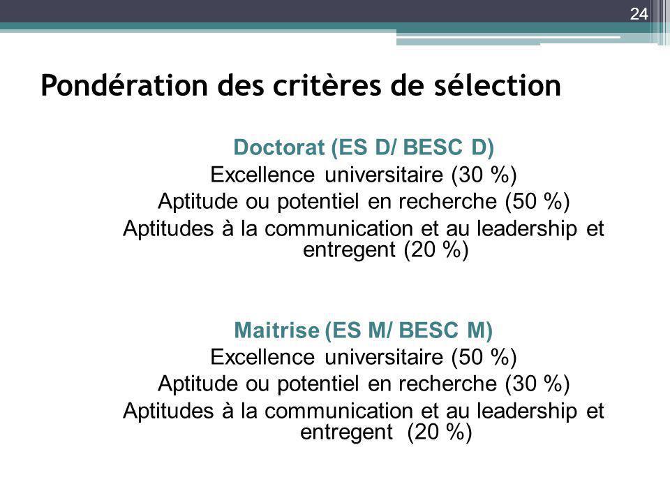24 Pondération des critères de sélection Doctorat (ES D/ BESC D) Excellence universitaire (30 %) Aptitude ou potentiel en recherche (50 %) Aptitudes à la communication et au leadership et entregent (20 %) Maitrise (ES M/ BESC M) Excellence universitaire (50 %) Aptitude ou potentiel en recherche (30 %) Aptitudes à la communication et au leadership et entregent (20 %)