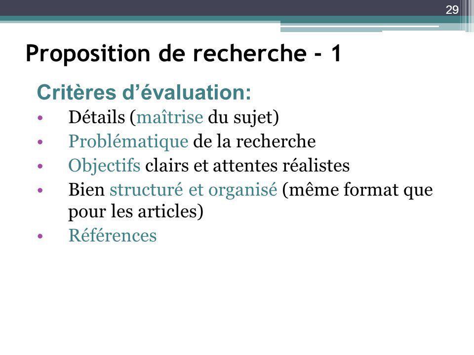 29 Proposition de recherche - 1 Détails (maîtrise du sujet) Problématique de la recherche Objectifs clairs et attentes réalistes Bien structuré et organisé (même format que pour les articles) Références Critères dévaluation: