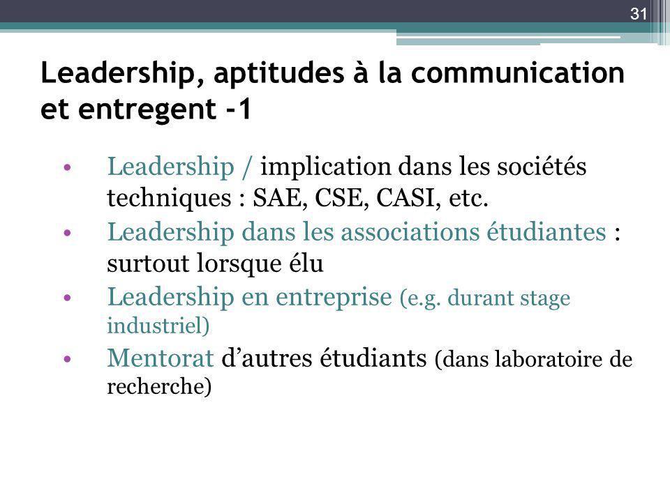 31 Leadership, aptitudes à la communication et entregent -1 Leadership / implication dans les sociétés techniques : SAE, CSE, CASI, etc.