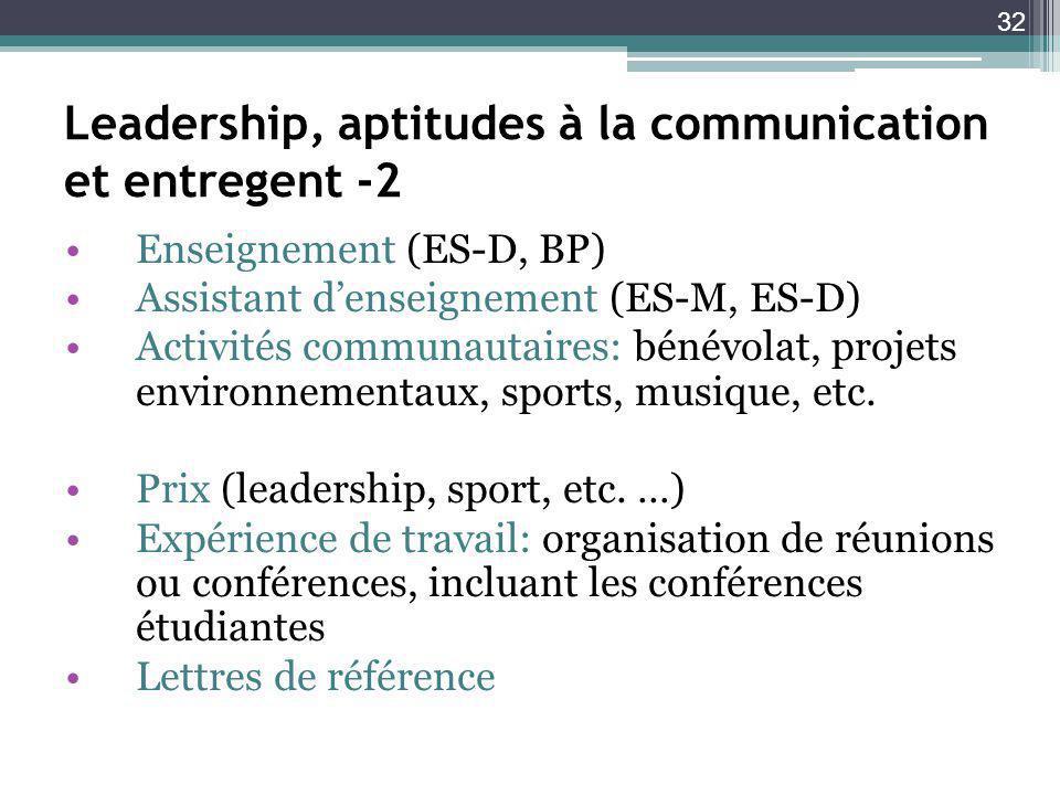 32 Leadership, aptitudes à la communication et entregent -2 Enseignement (ES-D, BP) Assistant denseignement (ES-M, ES-D) Activités communautaires: bénévolat, projets environnementaux, sports, musique, etc.