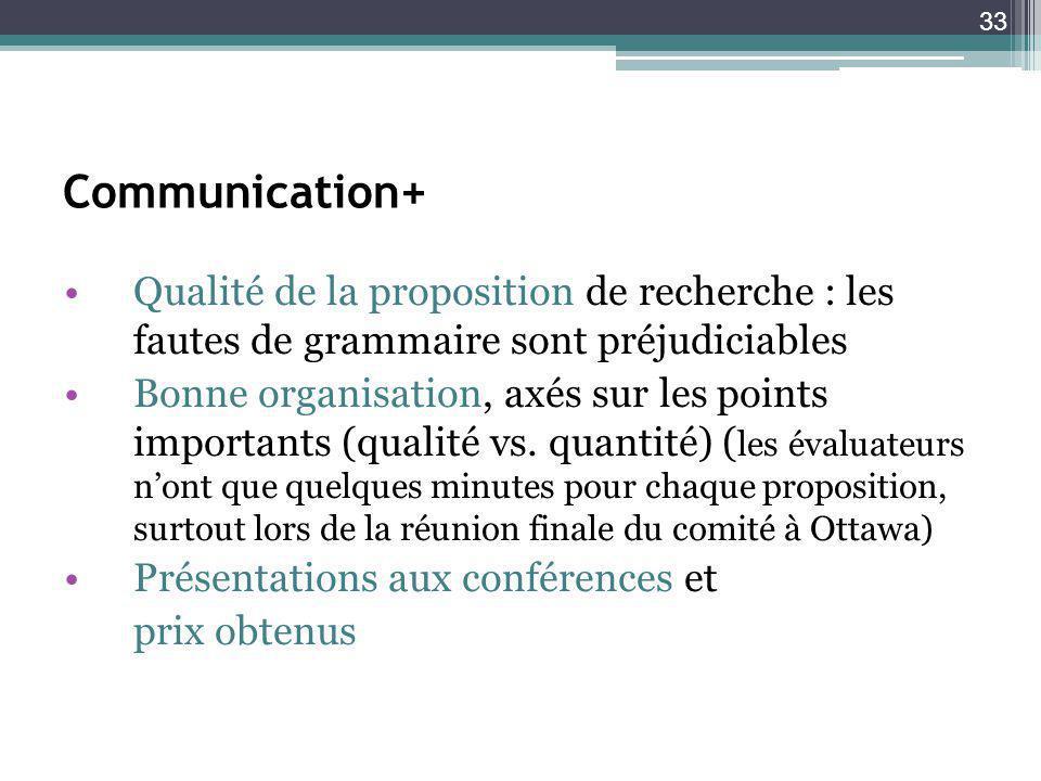 33 Communication+ Qualité de la proposition de recherche : les fautes de grammaire sont préjudiciables Bonne organisation, axés sur les points importants (qualité vs.