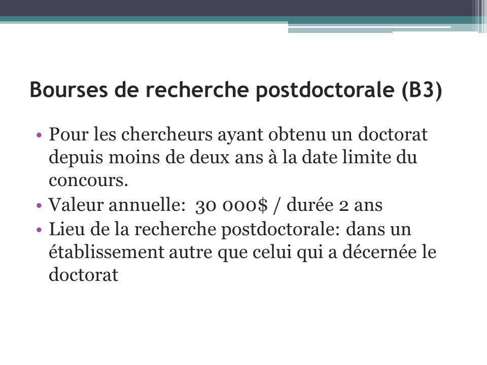 Bourses de recherche postdoctorale (B3) Pour les chercheurs ayant obtenu un doctorat depuis moins de deux ans à la date limite du concours.