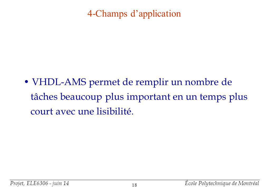 Projet, ELE6306 - juin 14École Polytechnique de Montréal 18 4-Champs dapplication VHDL-AMS permet de remplir un nombre de tâches beaucoup plus importa