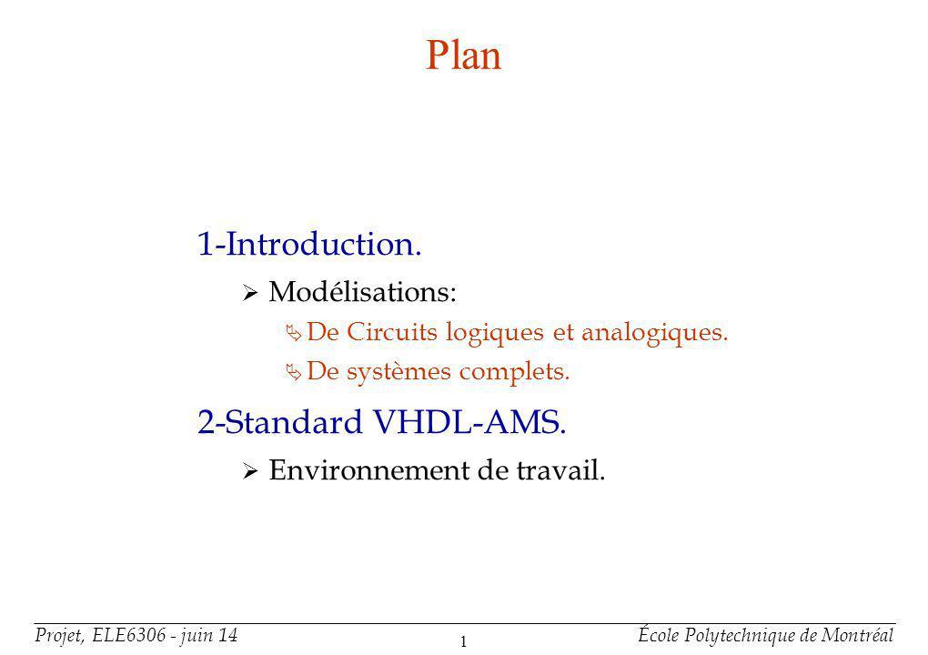 Projet, ELE6306 - juin 14École Polytechnique de Montréal 2 Plan (suite) 3-Organisation dun Modele VHDL-AMS.