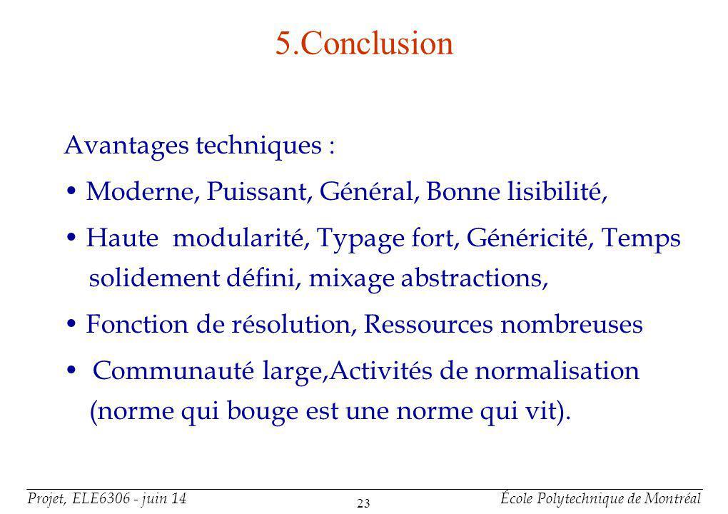 Projet, ELE6306 - juin 14École Polytechnique de Montréal 23 5.Conclusion Avantages techniques : Moderne, Puissant, Général, Bonne lisibilité, Haute mo