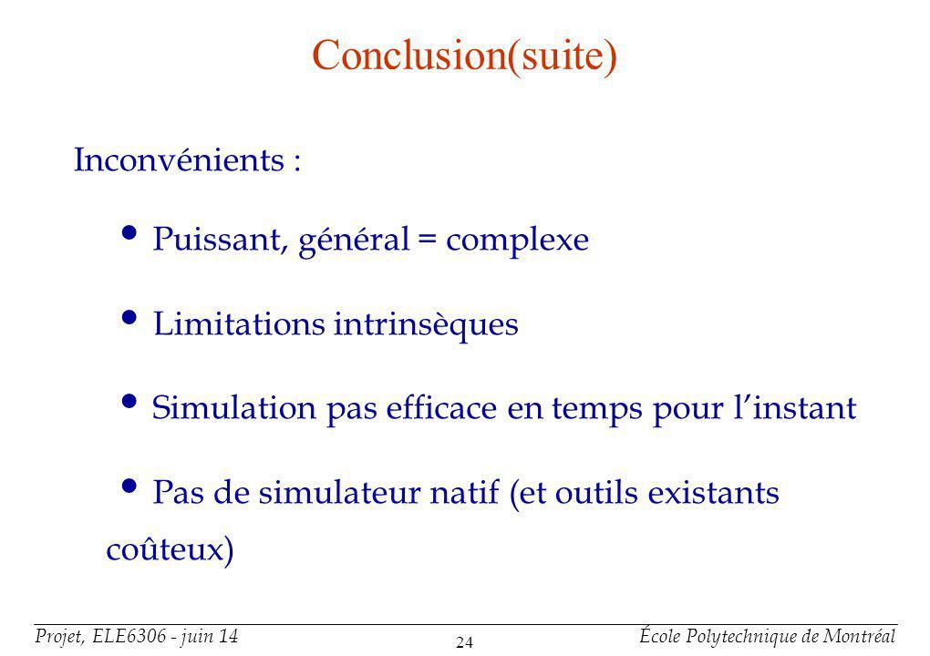 Projet, ELE6306 - juin 14École Polytechnique de Montréal 24 Conclusion(suite) Inconvénients : Puissant, général = complexe Limitations intrinsèques Si